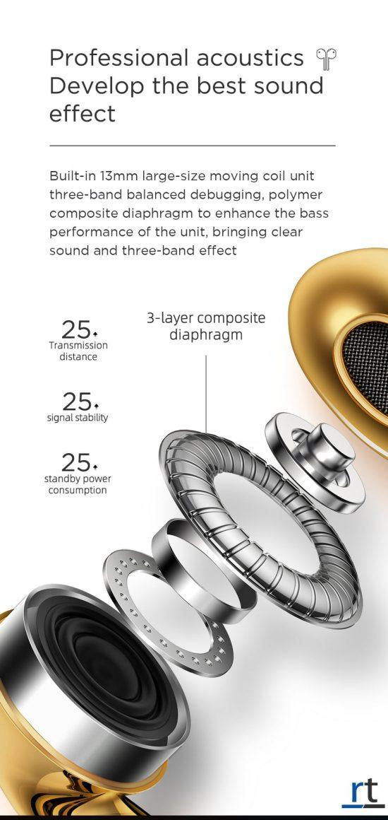 JOYROOM JR-T03S TWS Bluetooth Earphone - Gold