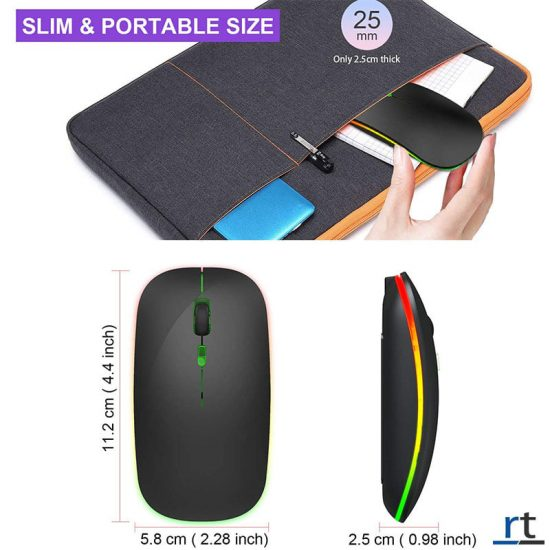 Rechargeable Colorful Wireless&Bluetooth Soundless Mouse
