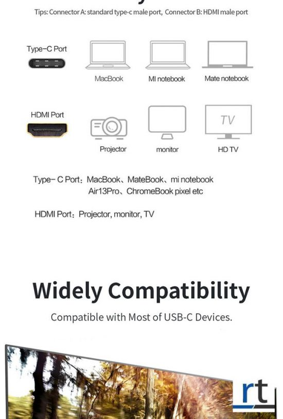 Type-C 4K 60Hz USB to HDMI Cable
